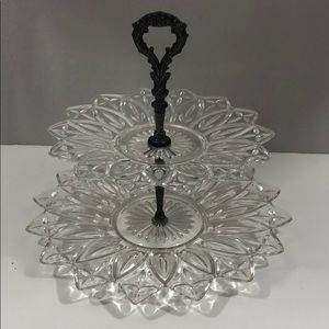 Vintage Two Tier Glass Cupcake Candy Tray Dish